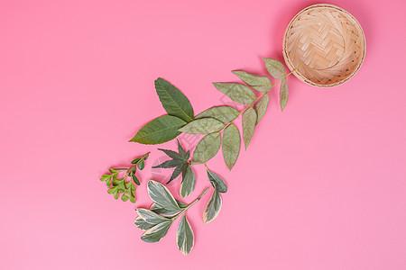 清新竹篮树叶排列创意摆拍图片