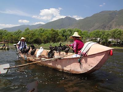 洱海渔船图片