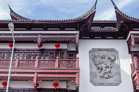 蓝天大气豫园建筑喜庆国庆图片
