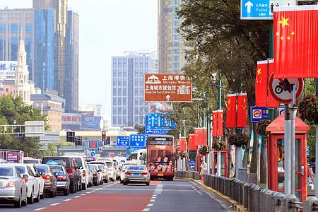 上海外滩国庆旅游街景图片