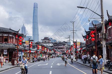 上海老街红灯笼喜庆国庆图片