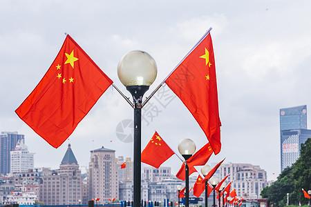 上海著名旅游景点五星红旗图片