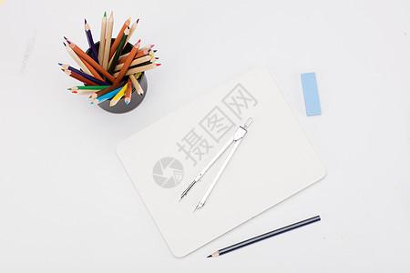 创意学习铅笔圆规桌面摆拍图片