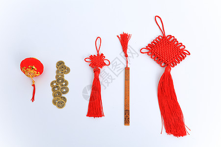 铜钱中国结书签素材图片