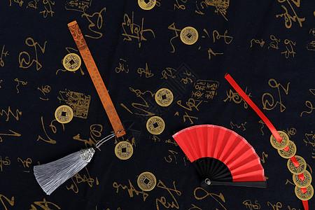 铜钱纸扇书签中国风元素图片