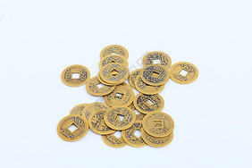 铜钱硬币白色背景图片