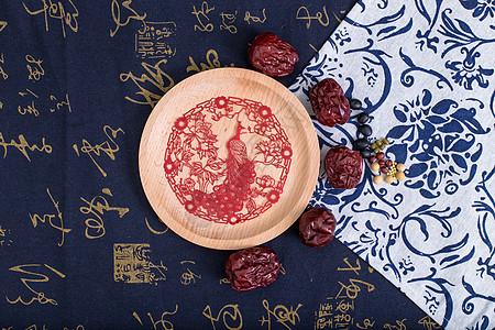 中国风礼品剪纸五谷摆拍图片