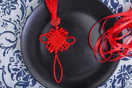 中国风礼品中国结丝带摆拍图片