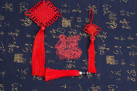 中国风礼品中国结剪纸摆拍图片