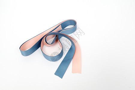 粉色蓝色丝绸缎带包装素材图片