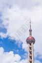 上海东方明珠电视塔蓝天白云图片