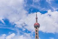 东方明珠电视塔蓝天白云图片
