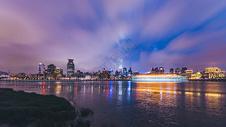 慢门滨江大道外滩夜景图片