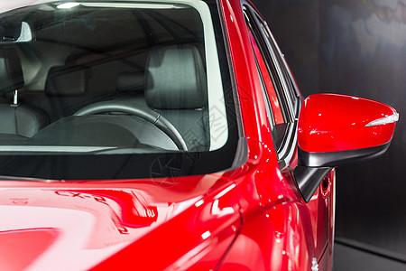 红色高级跑车方向盘图片