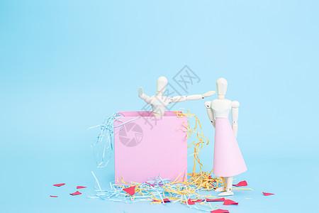 清新文艺情侣木偶盒子惊喜图片