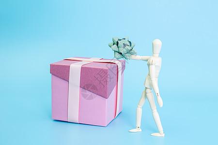 清新文艺木偶装饰盒子礼结图片