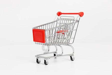 红色贴纸手推购物车图片