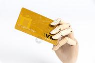 木制手模型刷信用卡图片