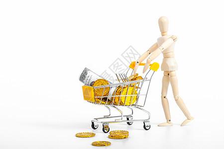 人偶购物消费商务素材图片