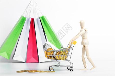 人偶购物消费电商素材图片