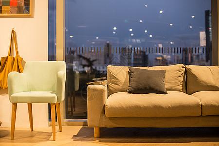清新文艺夜景家具椅子沙发图片