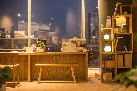 清新文艺家居木质桌子椅子家具摆放图片