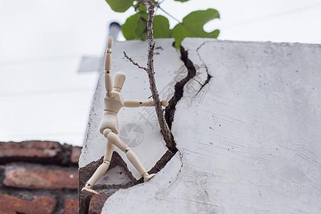 清新文艺人偶攀登树枝欢呼图片