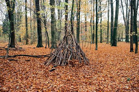 木质堆砌的火堆图片