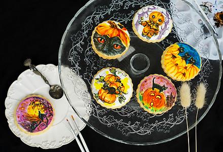 万圣节主题南瓜黑猫手绘糖霜饼干图片