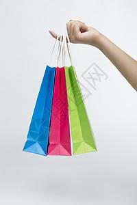 多个不同颜色手提袋购物袋图片