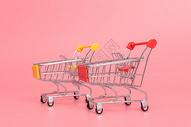 红色黄色超市手推车图片