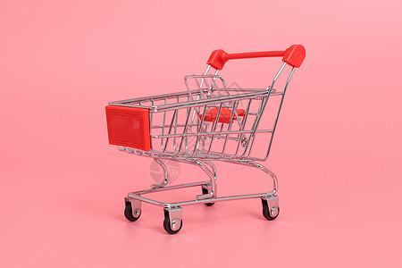 红车超市购物车多角度拍摄图片