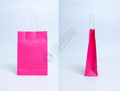 纯色红色购物袋纸袋单个拍摄图片