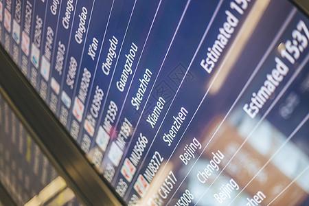 机场航班显示器英文图片