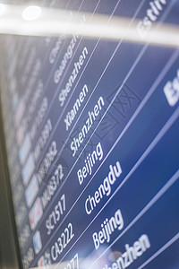 机场航班提示器特写图片
