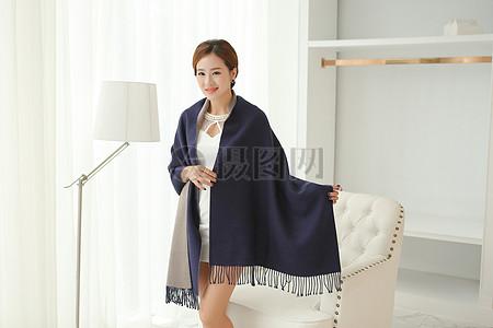 绒围巾 围脖 羊绒 围巾图片
