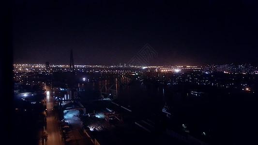 天津滨海夜景城市宾馆高楼图片
