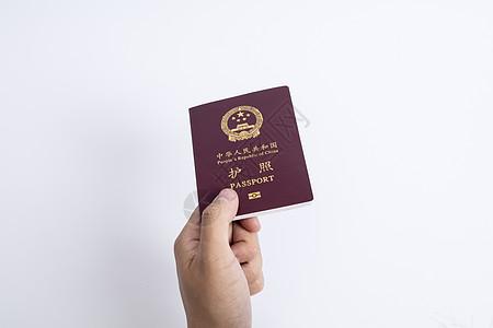 手拿护照证件图片