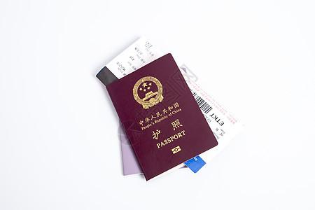 护照通行证登机牌白底摆拍图片