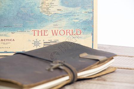 牛皮纸世界地图手账本图片