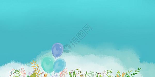 手绘蓝色碎花背景图片
