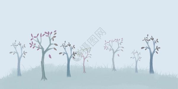 手绘清新浅蓝色小树背景图片
