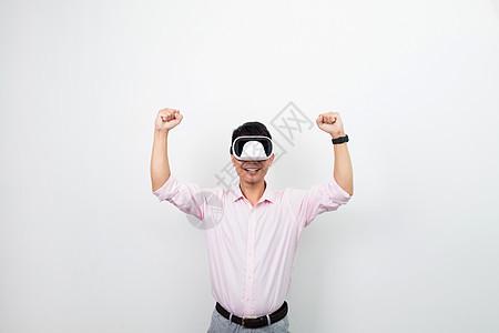 虚拟现实VR欢呼正面动作图片