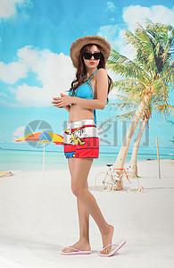 情侣沙滩海滩比基尼泳装图片