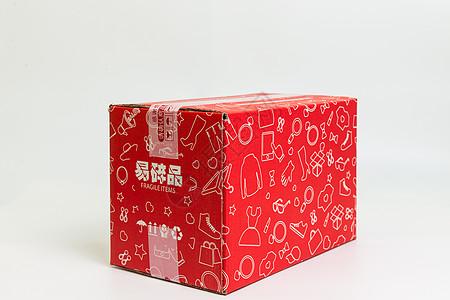物流快递红色盒子横放图片