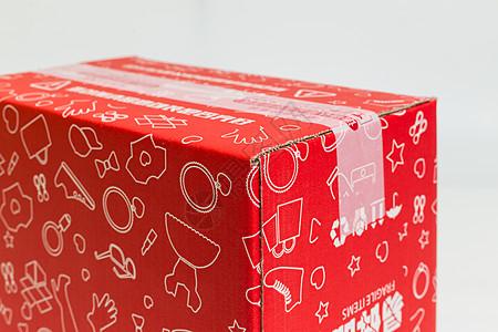 物流快递红色化妆品盒子图片