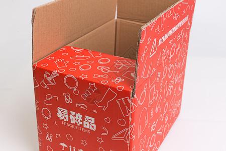 物流快递红色盒子打开图片
