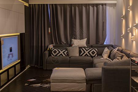 清新文艺家具沙发抱枕窗帘图片