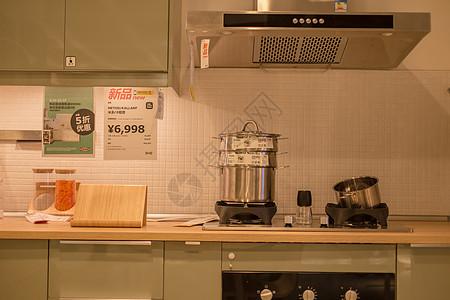 清新文艺家具厨房蒸锅图片