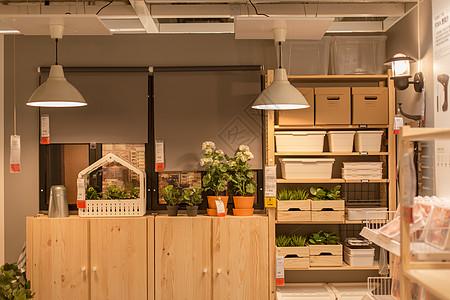清新文艺家具盆栽绿植木柜图片